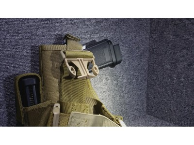 Right-handed Universal Pistol Holster (with belt/thigh trap)