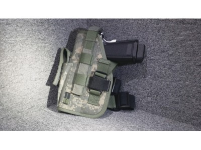 Left-handed Universal Pistol Holster (with belt/thigh trap)