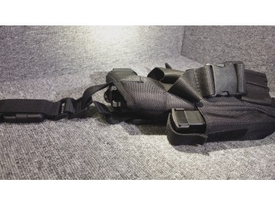Right-handed Mini Pistol Holster (with belt/thigh trap)